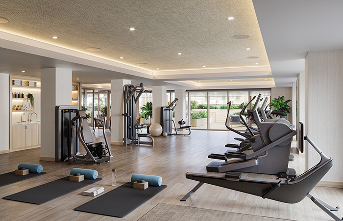 Coterie Senior Living offers luxury amenities like a fully equipped gym