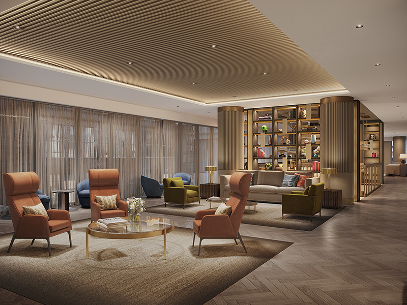 A rendering of the future Coterie Senior Living library that will offer residents a place to relax and read.